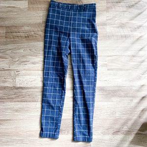 forever 21 / blue grid plaid trouser pants s